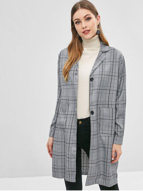 affordable Patch Pocket Plaid Trench Coat - MULTI S Mobile