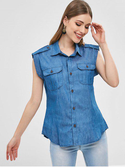 Chemise avec Poche Jointive Sans Manches en Tissu Rayé - Bleu S Mobile