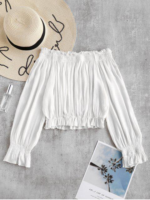best Frilled Crop Top - WHITE M Mobile