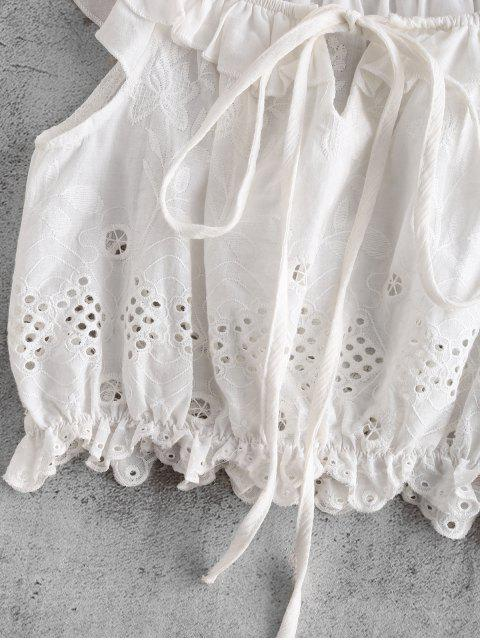 lady Anglaise Broderie Romantic Crop Top - WHITE L Mobile