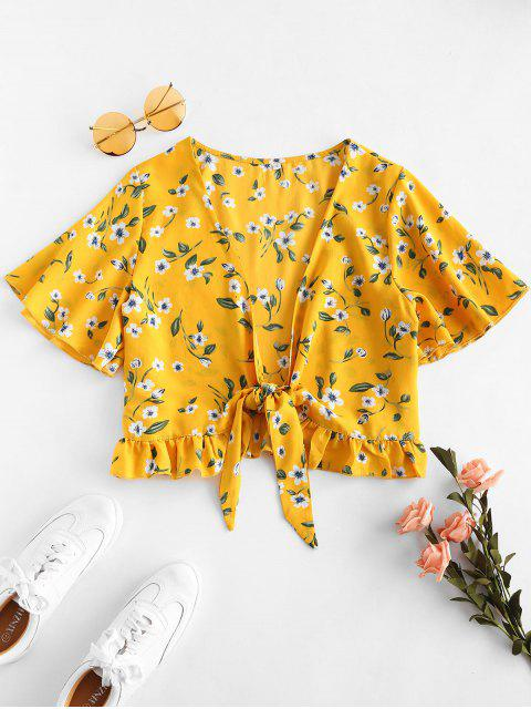 chic Floral Print Tie Up Crop Top - YELLOW S Mobile