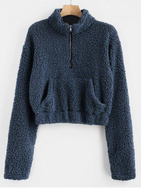 hot Half Zip Fluffy Faux Shearling Teddy Sweatshirt - CADETBLUE M Mobile
