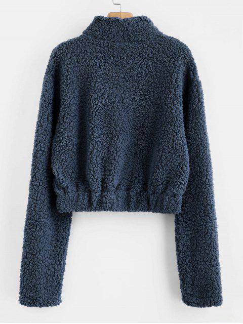 Sweat-shirt Fourré à Demi-Zip en Fausse Laine - Cadetblue M Mobile