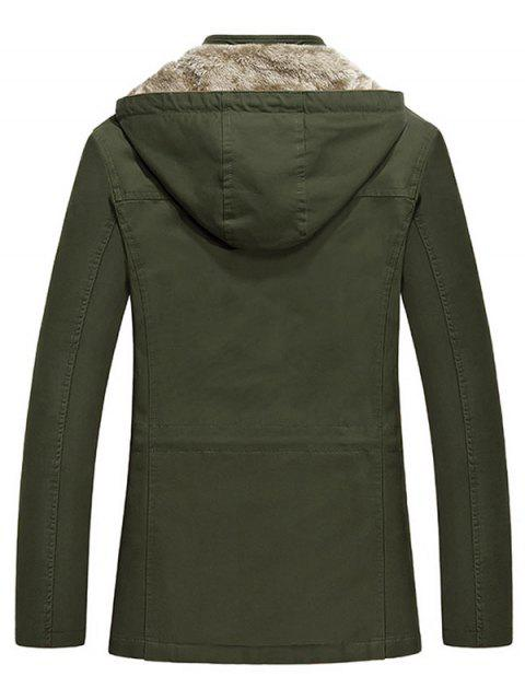latest Waist Drawstring Faux Fur Lined Jacket - ARMY GREEN M Mobile