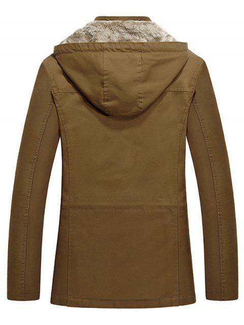 fancy Waist Drawstring Faux Fur Lined Jacket - WOOD M Mobile