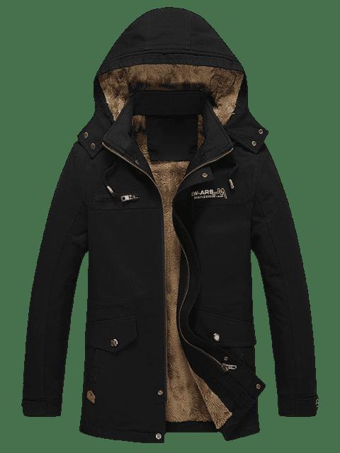 affordable Pockets Faux Fur Lined Jacket - BLACK S Mobile