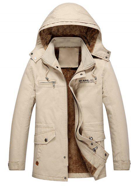 women's Pockets Faux Fur Lined Jacket - KHAKI S Mobile
