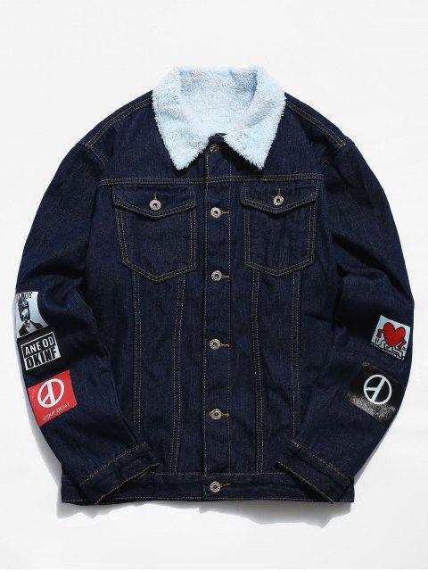 fashion Printed Faux Fur Lined Denim Jacket - MIDNIGHT BLUE XS Mobile