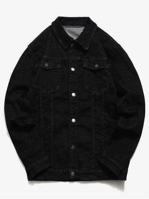 fancy Button Up Letter Printed Denim Jacket - BLACK XS Mobile