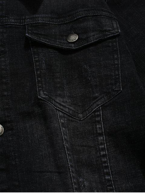 trendy Front Pocket Button Up Denim Jacket - BLACK XS Mobile