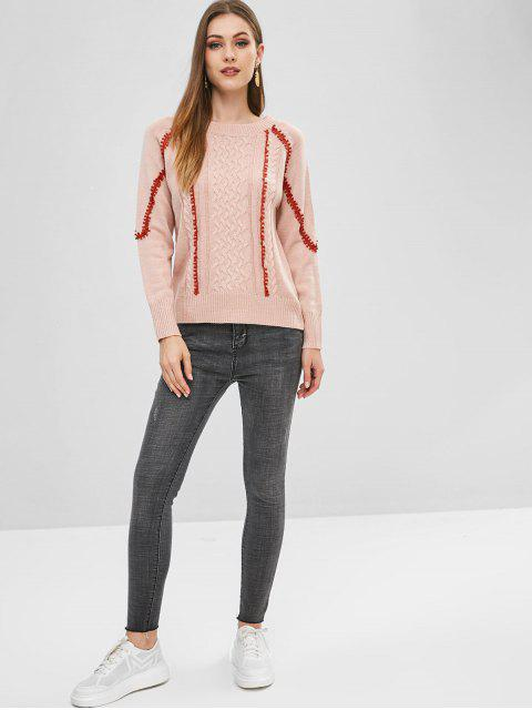 shops Laced Cable Knit Sweater - PINK ONE SIZE Mobile