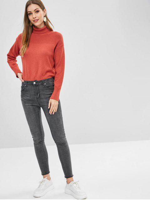 fashion Side Slit Turtleneck Sweater - BEAN RED ONE SIZE Mobile