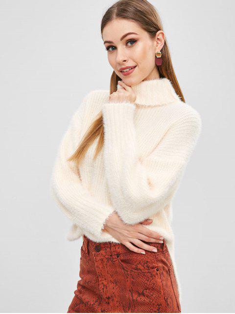fashion Fuzzy Side Slit Turtleneck Sweater - APRICOT ONE SIZE Mobile