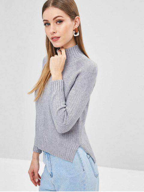 outfits Raglan Sleeve Mock Neck Sweater - GRAY ONE SIZE Mobile