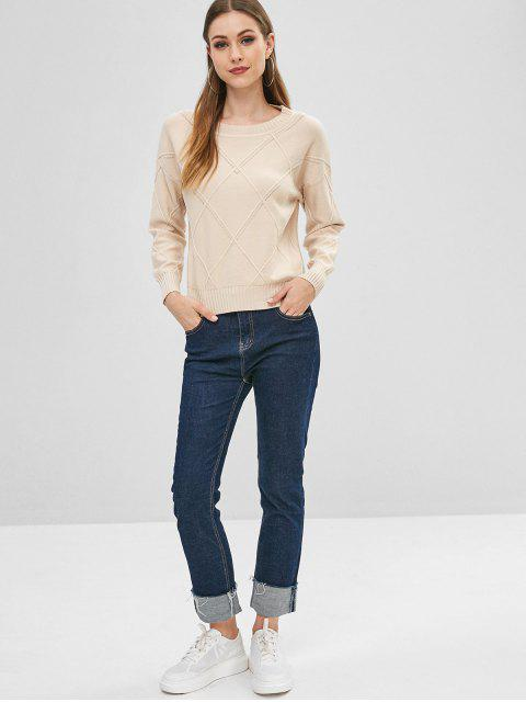 womens Slit Openwork Crew Neck Sweater - APRICOT ONE SIZE Mobile