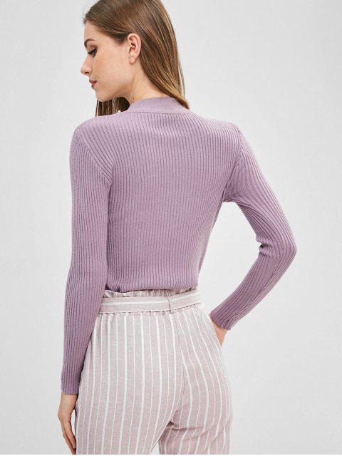 fancy Beaded Mock Neck Sweater - MAUVE ONE SIZE Mobile