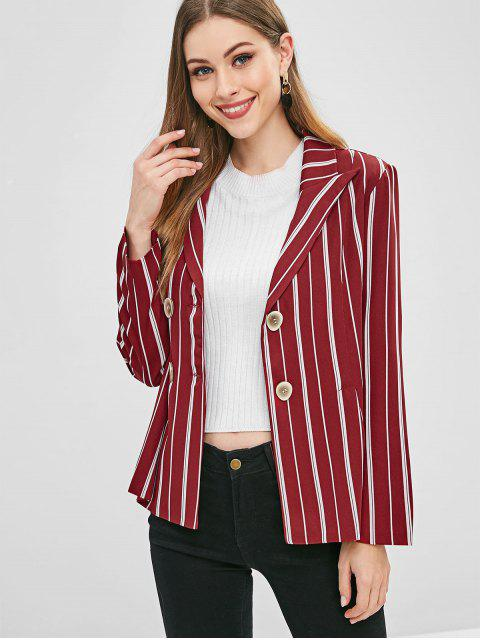 ladies Double Breasted Striped Blazer - FIREBRICK S Mobile