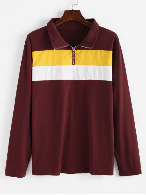 new Half Zip Color Block Plus Size Sweatshirt - RED WINE 1X Mobile