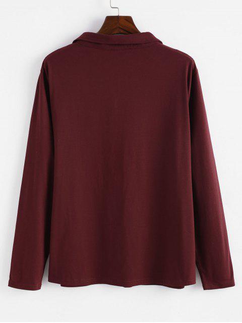 Sweat-shirt en Blocs de Couleurs de Grande Taille à Demi-zip - Rouge Vineux 3X Mobile
