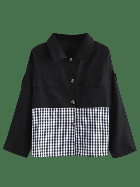 lady Button Down Gingham Plus Size Shirt - BLACK 3X Mobile