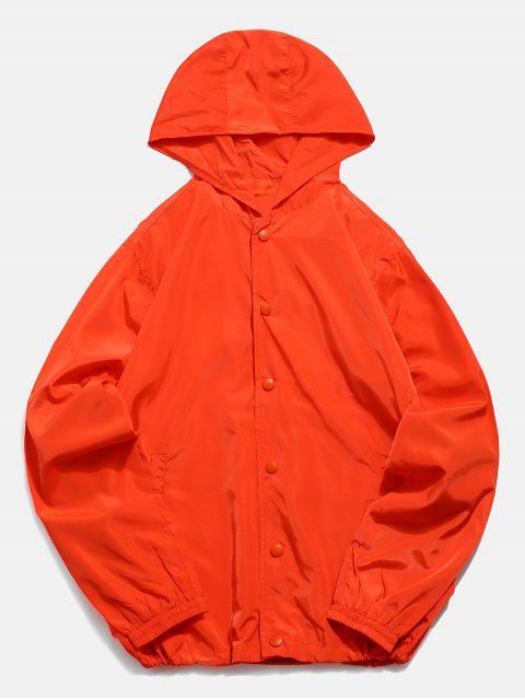 Veste Coupe Vent en Couleur Unie avec Bouton-Pression - Orange L Mobile