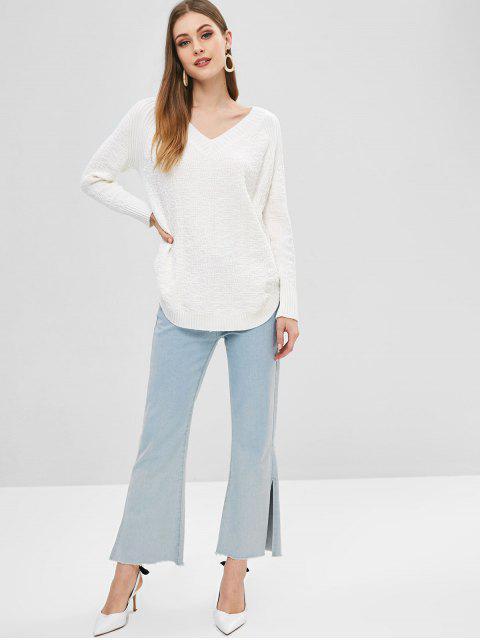 hot Curved Hem V Neck Sweater - WHITE ONE SIZE Mobile