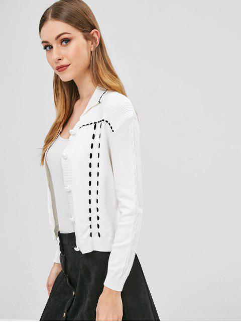 Cardigan à Bretelle en Tricot à Câble - Blanc Taille Unique Mobile