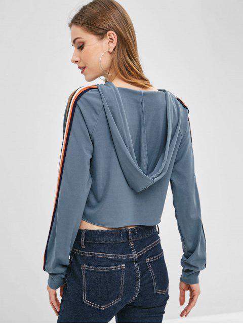 unique Drawstring Striped Raglan Sleeve Hoodie - BLUE GRAY M Mobile