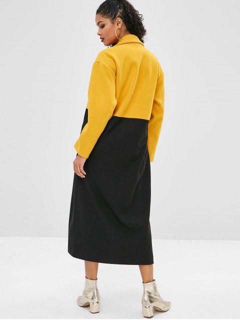 online Color Block Longline Drop Shoulder Coat - YELLOW L Mobile