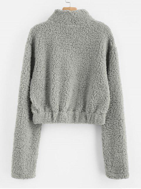 ladies Half Zip Fluffy Faux Shearling Teddy Sweatshirt - GRAY CLOUD S Mobile