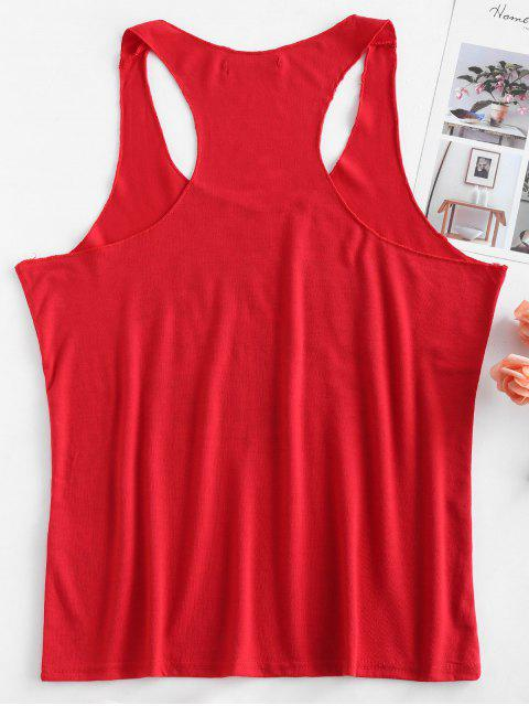 lady Graphic Racerback Scoop Tank Top - RED S Mobile