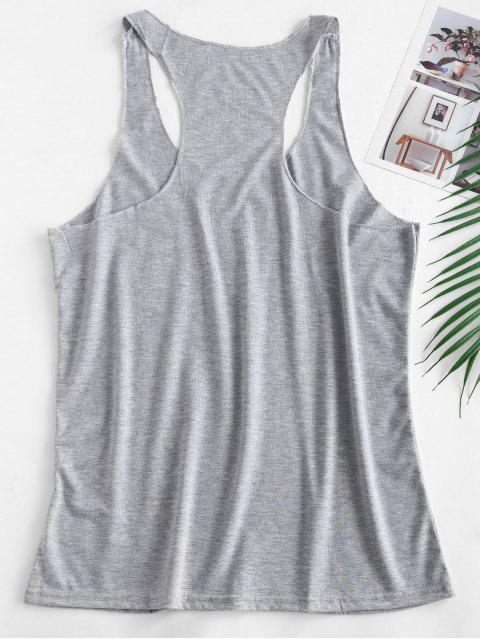 new Graphic Racerback Scoop Tank Top - LIGHT GRAY M Mobile