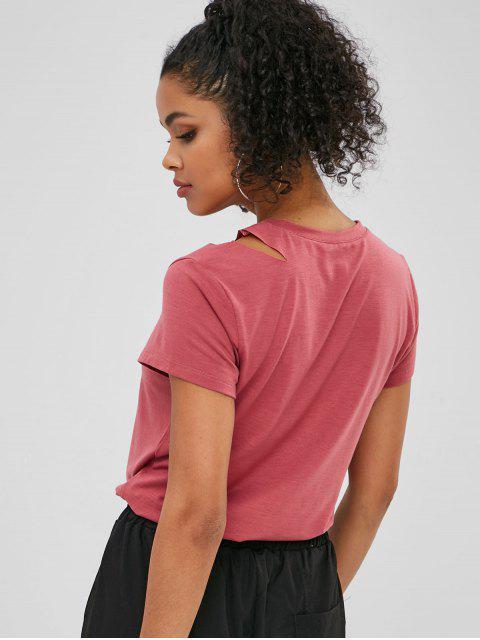 T-shirt graphique avec lettres découpées - Rose Tulipe S Mobile