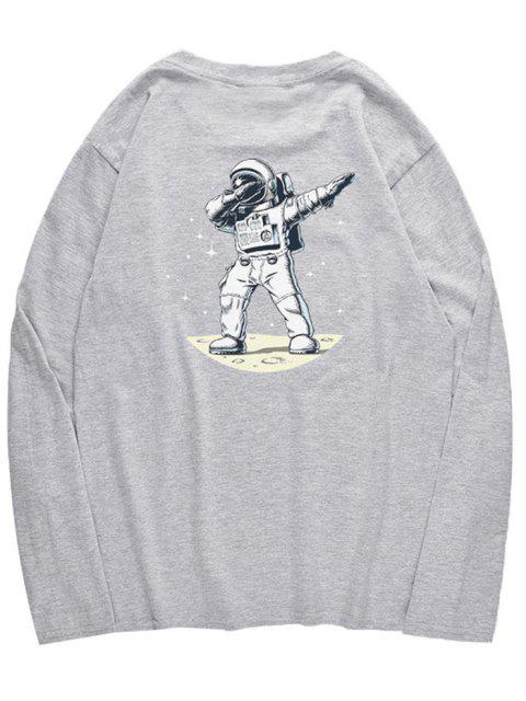 women Astronaut Dancing Pattern Crew Neck T-shirt - GRAY CLOUD XS Mobile