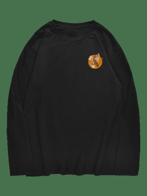 women's Drop-shoulder Sleeve Carp Printed T-shirt - BLACK M Mobile