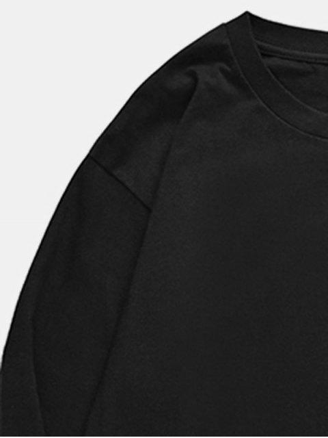 Camiseta con estampado de micrófono y pulpo de cuello redondo - Negro XS Mobile