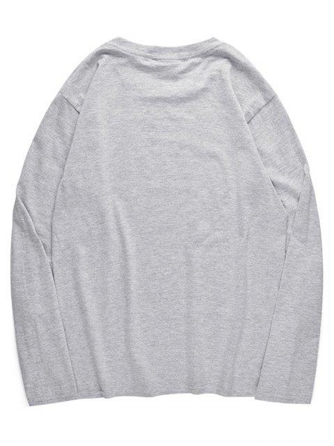 Camiseta de manga de hombro con estampado de pulpo - Nube Gris M Mobile