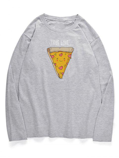T-shirt Motif de Pizza Mignon à Col Rond - Nuage Gris S Mobile