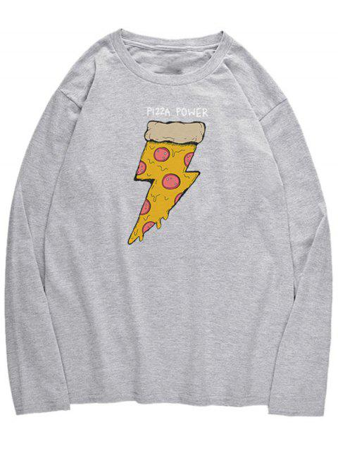 women Long Sleeve Pizza Print T-shirt - GRAY CLOUD XS Mobile