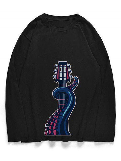 Camiseta con patrón de guitarra de pulpo con cuello redondo - Negro S Mobile