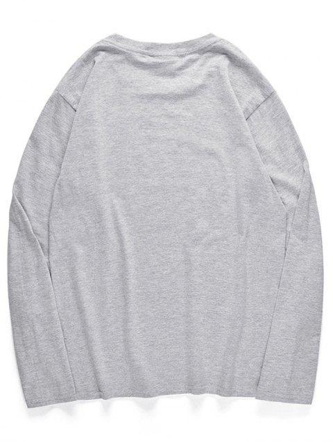 Camiseta de manga larga con patrón de pulpo de dibujos animados - Nube Gris M Mobile