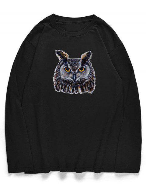 T-shirt à col ras du cou avec motif hibou - Noir XS Mobile