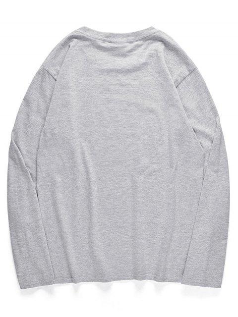 T-shirt à col ras du cou avec motif hibou - Nuage Gris S Mobile