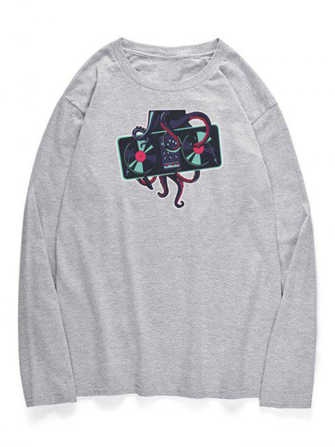 women's Crew Neck Octopus Printed T-shirt - GRAY CLOUD S Mobile