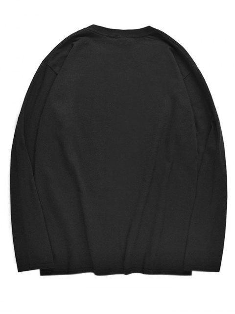 womens Octopus Pattern Drop Shoulder Sleeve T-shirt - BLACK S Mobile