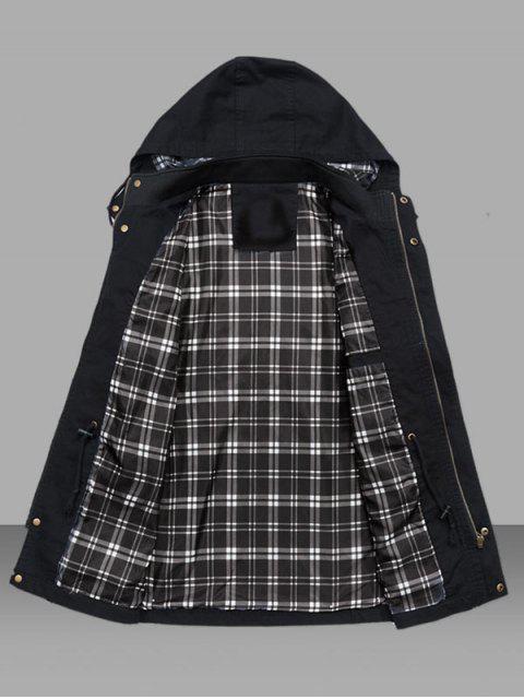 Veste Taille à Cordon avec Poche en Couleur Unie - Noir M Mobile