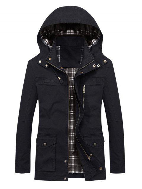 shops Solid Waist Drawstring Pockets Jacket - BLACK L Mobile