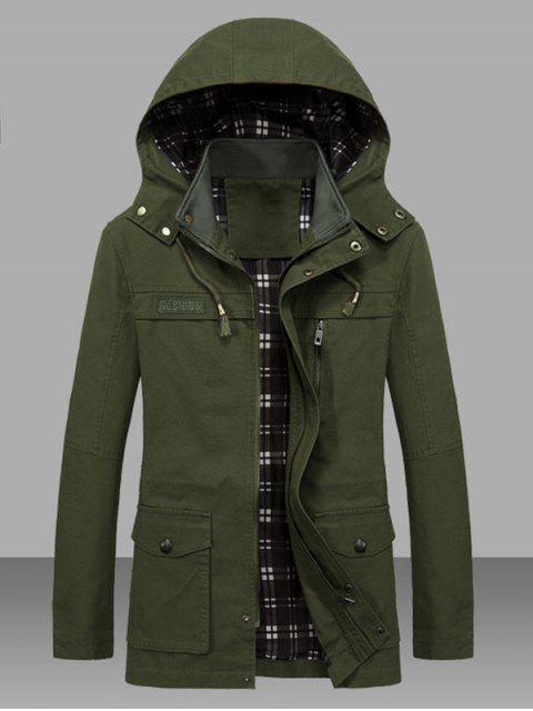 Veste Taille à Cordon avec Poche en Couleur Unie - Vert Armée  L Mobile