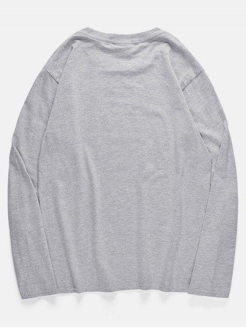 Camiseta con estampado de disco de grabación de pulpo de cuello redondo - Nube Gris S Mobile