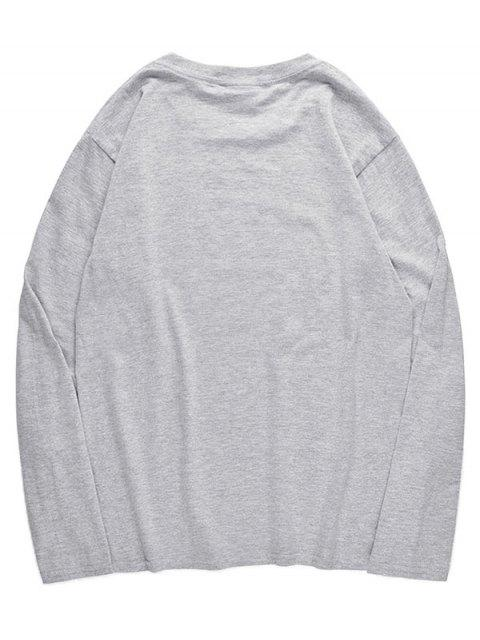 outfit Crew Neck Wolfhound Pattern T-shirt - GRAY CLOUD M Mobile